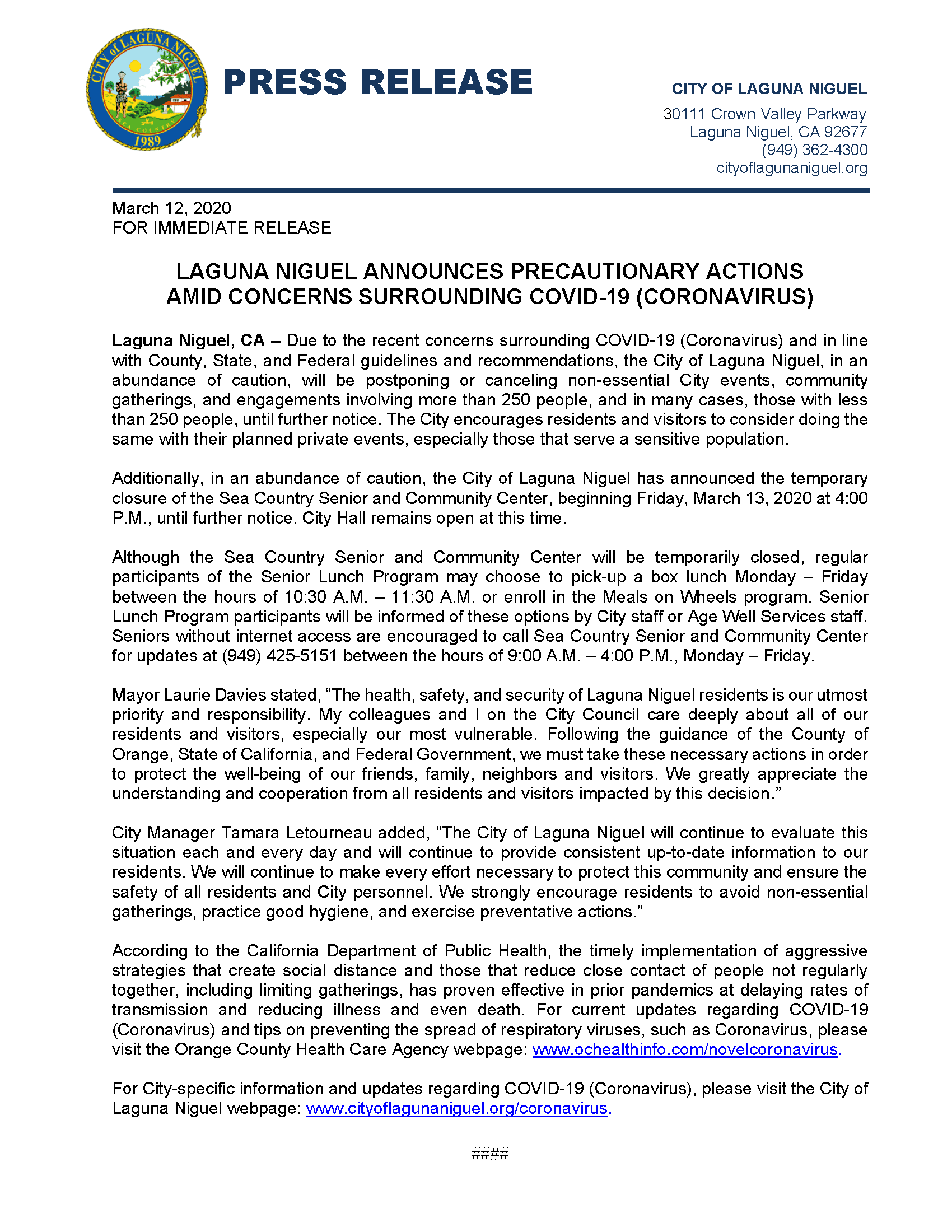 City of Laguna Niguel COVID 19 Press Release