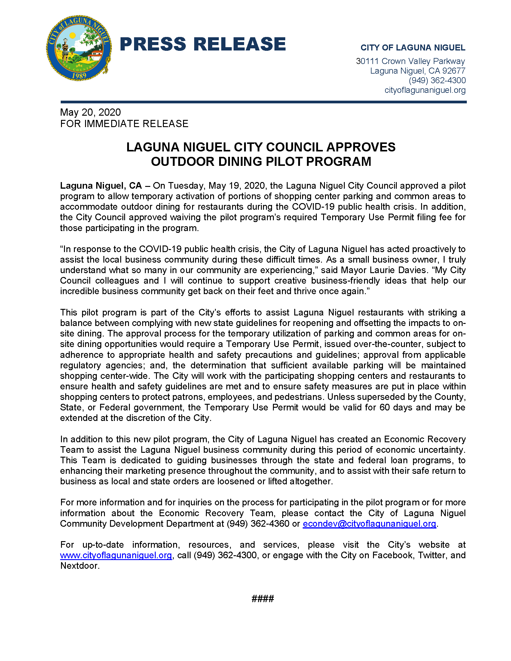 Press Release - Outdoor Dining Pilot Program