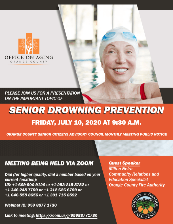OC Office on Aging flyer about upcoming webinar, Senior Drowning Prevention