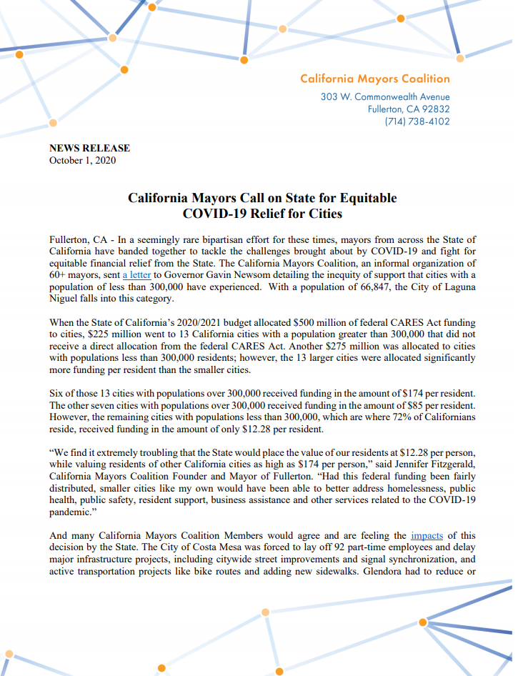 Press Release: California Mayors Call on State for Equitable COVID-19 Relief for Cities